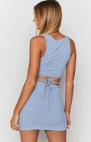 2021 new slim dress lace up sleeveless vest top sexy hip wrap skirt cover