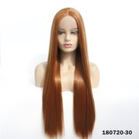 Brown Synthetic Lacefrontal Wig Simulation Human Hair Lace Front Wigs 12~26 inches perruques de cheveux humains With Bangs 180720-30