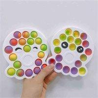 Tie Dye Rainbow Color Push Pop Pop Fidget Bubble Poppers Board Poo Il Desktop Finger Puzzle Ladybug Bear Orso Polpo Multi Forme di punta Stress
