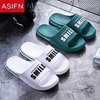 AsiFN Men Summer Beach Slippers Inicio Interior Sweetlove antideslizante Simple Simple Moda Smile Printing Ladies Zapatos Hombre Diapositivas 210622
