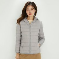 2021 autumn and winter new Korean slim fit leisure light jacket women's hooded large coat 90 white duck down tide