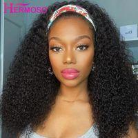 Kinky Kıvırcık Bandı Peruk İnsan Saç Peruk Eşarp Hiçbir Jel Tutkalsız Perulu Siyah Kadınlar Dantel