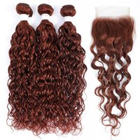 Human Hair Bulks Water Wave Bundles With Closure 4x4 Brazilian 33 Brown Auburn Burgundy Red Weaving KEMY Non-Remy Extension
