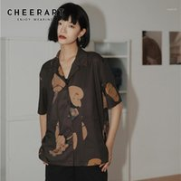 Haterart Musashi Ukiyoe Японская уличная одежда Женщина Блузки Рубашки с коротким рукавом Пунцовая рубашка Эстетическая Летняя Верхняя Одикация