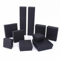 مربع / مستطيل مجوهرات المنظم مربع للأقراط قلادة سوار عرض هدية مربع حامل التعبئة والتغليف صناديق من الورق المقوى الأسود 922 Q2