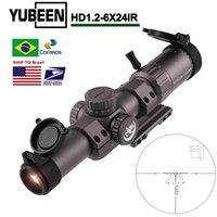 Yubeen HD 1.2-6x24IR Tactical Optics Sight AR15 Compact Scope Zero Blocco Turret 1 / 2MoA Regolazione Rangfinding Rettyting Hunting Scopes