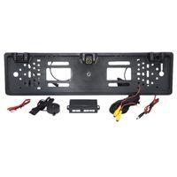 Rückfahrkamera Auto Europäischen Kennzeichen Rahmen Licht 12 LED 170 Backup Reverse IR mit 2 Parksensor Webcams