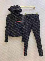 Sweats à capuche classique Sweatshirts avec pantalon Sport Sport Slim pour Lady Lettres Zippers Spring Automne Sweats à capuche Sweats à capuche
