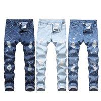 Erkekler için kot orta kot erkekler yeni erkek düz delik kot erkek ince denim pantolon toptan