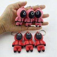 3pcs set Squid Game Keyring Figure Mask Soldier Mini Doll Key Car Backpack Pendant Keychain