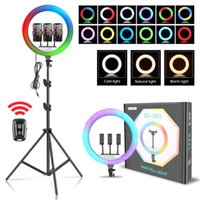 Flash Heads 14Inch 35.6cm RGB Ring Light Bluetooth Selfie LED Lamp With 200cm Tripod Stand Pography For Po Studio Youtube Live