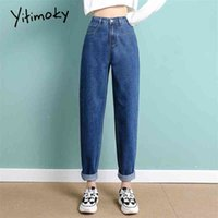 Yitimoky высокая талия джинсы женщина прямые неба голубые джинсовые брюки плюс размер эластичный промытый повседневная винтажная уличная одежда мама джинсы женщины 210331