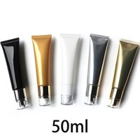 Storage Bottles & Jars 5pcs Empty 50ml Airless Pump Bottle 50g Cosmetic Cream Squeeze Tube Makeup Foundation Essence Container White Black S