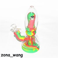 Silicone Bongs 7.8 inches eye Mini Hookah Dab Rigs Bong With Glass Bowl Water Pipe Multi Color Free DHL