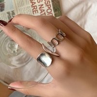 Cluster Rings Fashion Minimalist Width Open Silver For Women Creative Hollow Geometric Handmade Party Jewelry Gifts Metal Bague