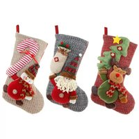 Knitted Wool Large Stockings Santa Claus Snowman Deer Christmas Socks Gift Bag Fireplace Decorations GWB11370