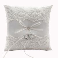 Stile rustico Anello in pizzo Portametro cuscini da cerimonia di nozze perle perle dolci cuscino fiore sposa scatola sconto sfuso