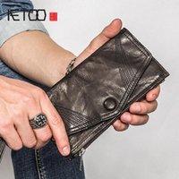 Cartera de envolvimiento ultra delgada, bolso personalizado de piel de oveja larga hecha a mano para hombres, billetes de moda, billetera de moda