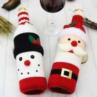 Decoraciones de Navidad Cubierta de botella de vino de punto Santa Claus Muñeco de nieve Champagne Merry Home Fiesta Decoración de la mesa