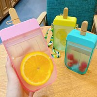 Storage Bottles & Jars Cute Straw Cup Plastic Popsicle Water Bottle Outdoor Transparent Juice Drinking Creative Student Mug For Adult Childr