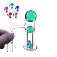 20mmOD Flat Top Terp Slurper Smoking Quartz Banger With Glass pill and Marble Ruby Pearls Nails For Water Bongs Dab Rigs