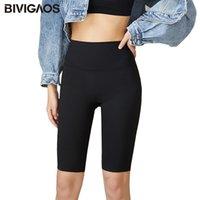 Bivigaos primavera verano elástico sharkskin rodilla biker corto cintura alta cintura sexy culturismo deporte shorts negro gris