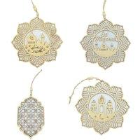Wooden Ramadan Party Ornement Eid Mubarak Lettres Mosquée suspendue Pendentif 4PCS / SET EIDS AL-FITR Célébration Fournitures décoratives GGA4689
