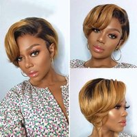 Lace Wigs Halo Short Pixie Cut Wig Human Hair Straight Bob With Bangs Curly For Black Women & Ombre