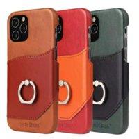Подлинная реальная кожа задняя открытка кошелька телефона чехлы с кольцом для iPhone 12 11 PRO PROMAX X XS MAX 7 8 плюс Samsung S10 S10P S10E S20 S20P 20U Casecover