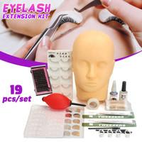 20Pcs Practice False lash Extension Training Set Makeup Lashes Grafting Eye Pads Tweezers Mannequin Head Kit