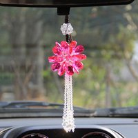 Decorative Objects & Figurines 12 Styles Crystal Hanging Ornaments Car Rearview Mirror Crafts Handmade Flower Home Decor Interior Accessorie