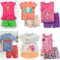 Baby filles Tenue 100% coton Summer manches courtes enfants T-shirts Short Pantalons 2 3 4 5 6 7 Ans Fille's Pyjamas Sleepwear 210413