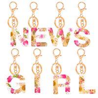 26 İngilizce Mektubu Kurutulmuş Çiçek Mektubu Anahtarlık Trendy Yaratıcı Renkli İlk Reçine Çanta Anahtarlık Aksesuarları Kadınlar için