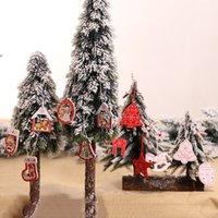 12pcs set Colored Wood Christmas Ornaments Creative Christmas Tree Decoration Color Wooden Pendant Pentagram Snowflake
