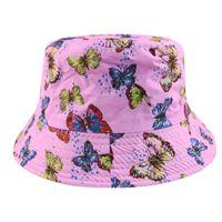 Gorra casual para las señoras elegantes de verano estilo coreano de la mariposa impresa del cubo de la mariposa de la mariposa de las mujeres de la protección del sol de las mujeres del sol de la sol del sol del sol del sol del sol