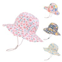 Wide Brim Hats S-xl Summer Baby Floral Hat For Girls Boys Kids Bucket Spring Autumn Travel Beach Cap Sun With Windproof Rope
