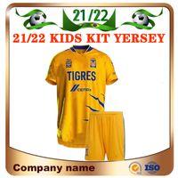 21/22 Liga MX Tigres UANL 7 Yıldız Çocuk Kiti Futbol Forması 2021 Gignac Vargas Juninho Zelarayan Valencia Gömlek Pizarro Aquino Boy Futbol Üniforması