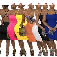 Seksi Kolsuz Yelek Kadın Elbiseler Rahat Sling Elbiseler Moda Katı Renk V Boyun Ince Bodycon Etek Yaz Tasarımcılar Giysileri