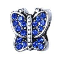 Großhandel 50 stücke Mode Legierung Metall Strass Schmetterling Perlen Fit Europäischen Charme Armband DIY Schmuck Für Frauen Niedriger Preis 1035 Q2