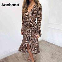 Aachoae Long Dresses Women Zebra Print Beach Bohemian Maxi Dress Casual Long Sleeve V Neck Ruffles Party Dress Vestidos 210915