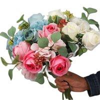 """Декоративные цветы венки одной поддельной розовой гортензии Bridal букет 11 """"Длина моделирования роза пластиковые фрукты для свадебного центрального центра 4 цвета"""