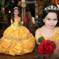 2021 Yellow Retro Princess Cute Flower Girls Dresses For Weddings Off Shoulder Crystal Beads Cascading Ruffles Birthday Children Girl Pageant Gowns