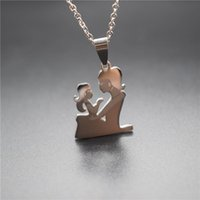 Pendant Necklaces Elfin Mom And Daughter Jewellery Cute Stainless Steel Mother Holding Her For Women Girl