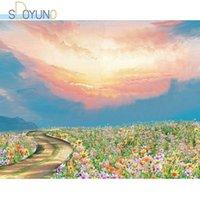 Dipinti Sdoyuno DIY Paint By Numbers Flower Road 60x75cm Pittura ad olio su Cavans Paesaggio Telaio Dono da colorare
