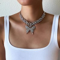 Chokers Trendy Butterfly Necklace For Women Iced Out Cuban Link Chain Girl Chocker Hip Hop Pendant Sexy Outfits Jewelry