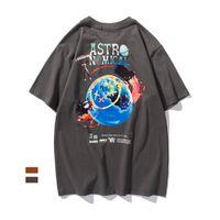 Travis Scott Sanatçı Merch Vurgular Kale Gece Kısa Kollu Erkek Casual T-shirt Wikl
