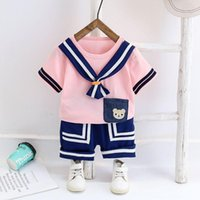Summer Navy Style Set Girls Boys Cotton Clothes Short Sleeve T-shirt + Shorts For Toddler Kids Baby Costume Cute Clothing Sets