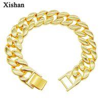 Link, Chain Hip Hop Cuban Bracelet Men's Plated Gold Rap Cool Glossy 21cm Wrist Bracelets Jewelry