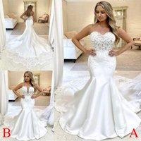 2022 Mermaid Wedding Dresses Bridal Gown Lace Applique Chapel Train Custom Made Plus Size vestido de novia Designer Tulle Satin Beach Castle Covered Buttons Back