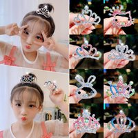 Girls Cute Shining Diamond Crown Alloy Hair Combs Kids Sweet Headband Clips Tiaras Fashion Accessories
